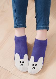 萌兔配色柔感短襪