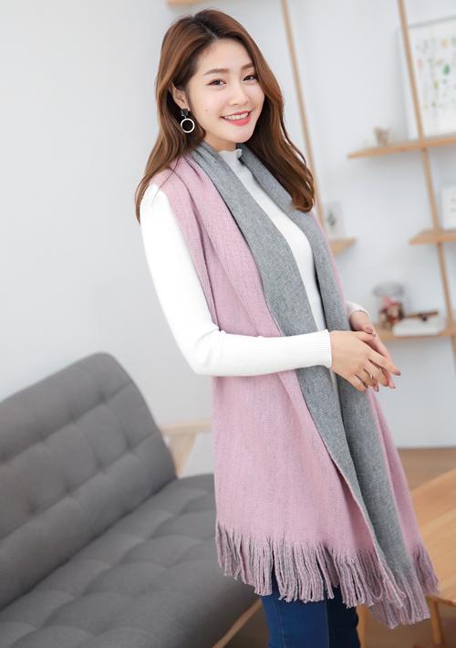 雙面配色柔感針織圍巾