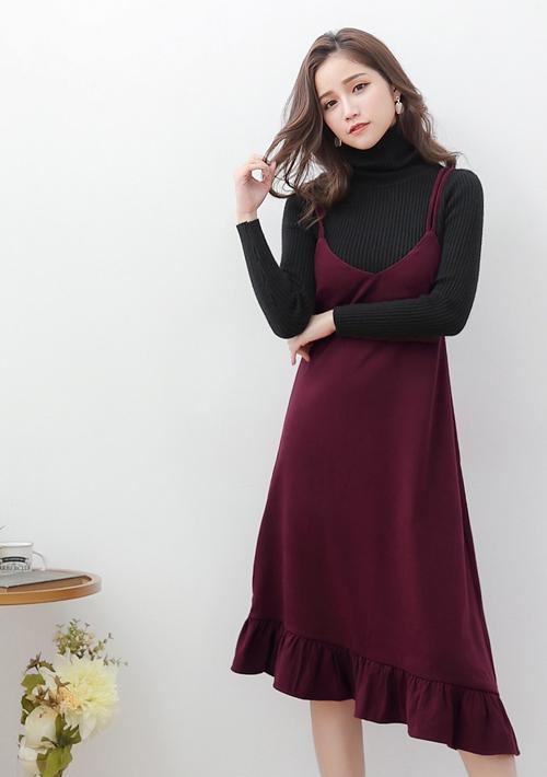 韓妞細肩絨感魚尾洋裝
