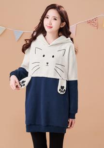 貓咪配色厚棉刷毛連帽上衣