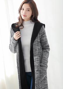 韓風配色針織刷毛外套-灰