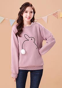 可愛絨毛球兔厚棉刷毛上衣-芋粉