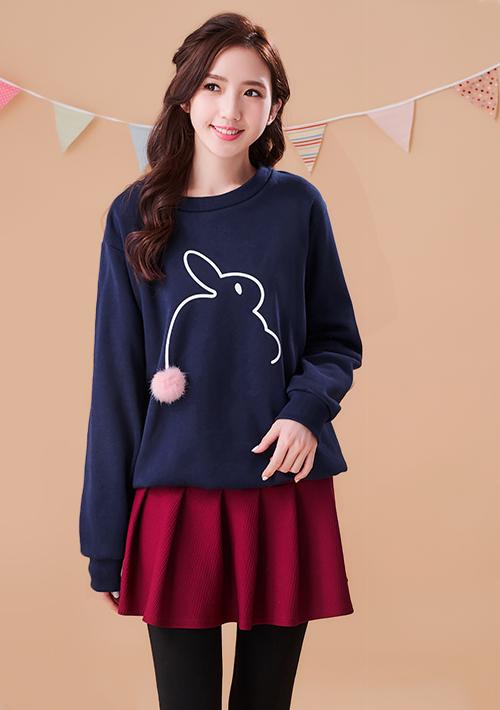 可愛絨毛球兔厚棉刷毛上衣