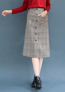 復古女伶磨毛格紋長裙