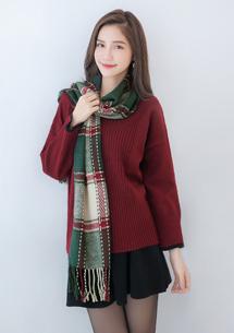 經典格紋配色流蘇圍巾