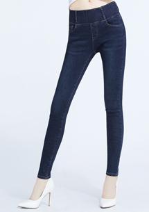 顯瘦收腹窄管牛仔褲-深藍