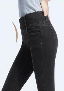 顯瘦收腹窄管牛仔褲-黑