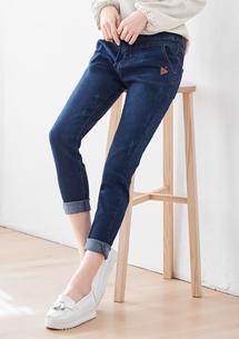 精緻皮革微刷色抽繩牛仔褲-深藍