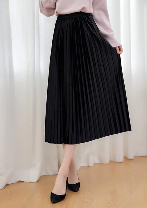 時尚女伶絨感百摺長裙