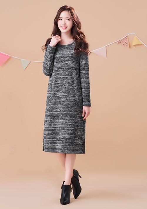 簡約修身針織刷毛長洋裝