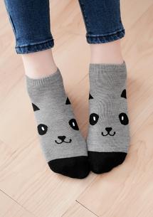 可愛熊貓柔感短襪