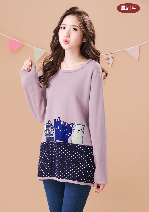 可愛貓咪刺繡厚棉刷毛上衣