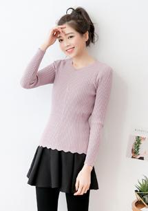 花邊包芯紗針織衫-芋紫