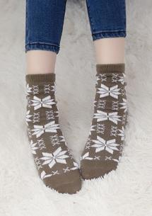溫暖冬氛雪花加厚保暖襪