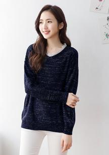 甜美蕾絲領亮蔥針織毛衣