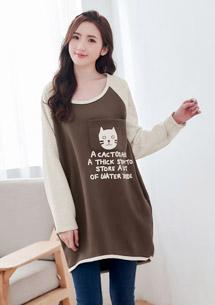 貓咪口袋厚棉刷毛配色上衣