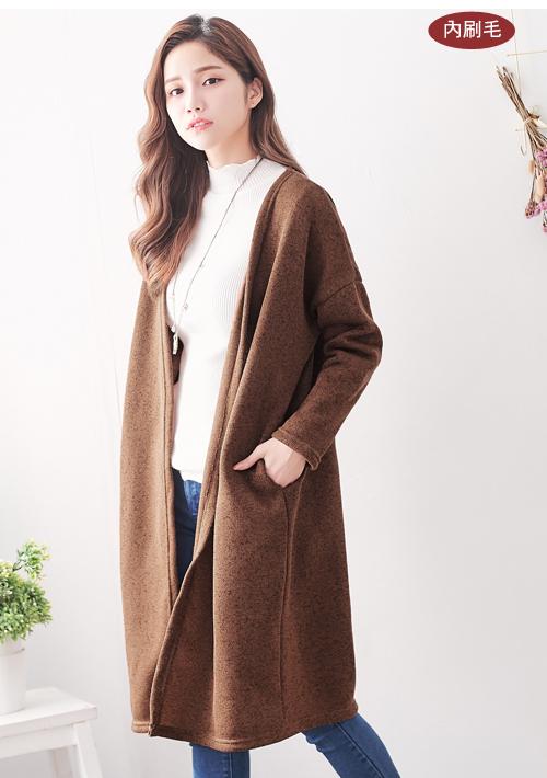 知性暖冬刷毛針織開襟外套