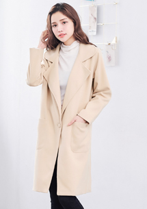 韓版純色毛呢翻領外套