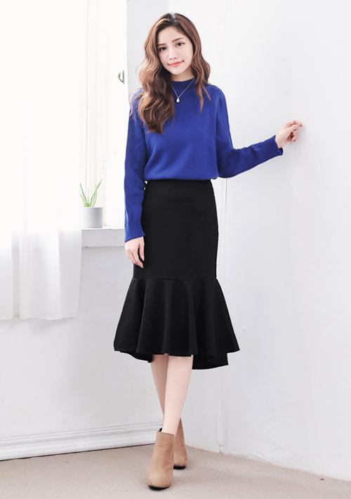 韓風優雅毛呢魚尾裙