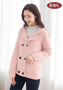 質感雙排釦厚棉刷毛外套