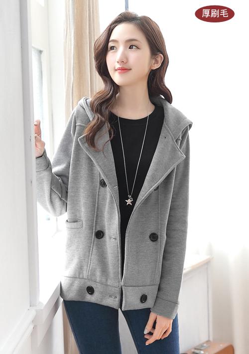 排釦厚棉刷毛外套