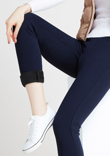 高彈親膚保暖絨窄管褲