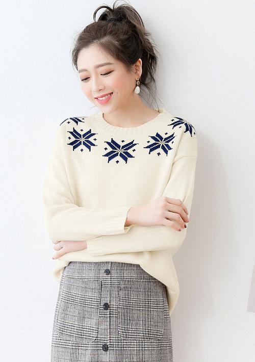 雪花粗針織毛衣