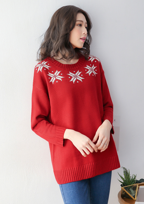 厚實暖感雪花粗針織毛衣