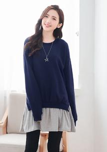 甜美舒柔厚棉刷毛配色洋裝-深藍