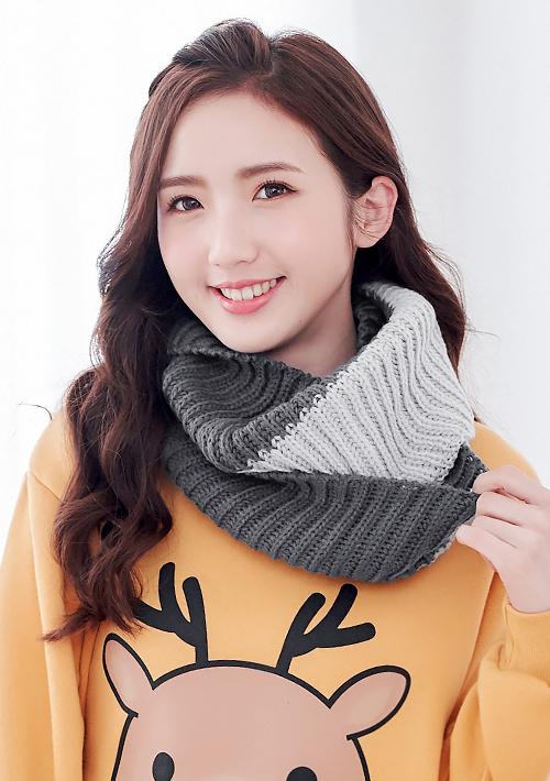 暖氛配色毛線針織脖圍巾