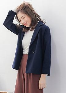 韓版品味厚毛呢翻領外套