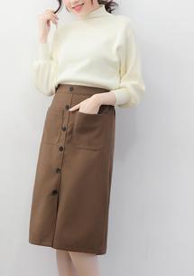 冬感時尚毛呢排釦長裙