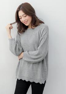 微甜花邊針織寬版毛衣