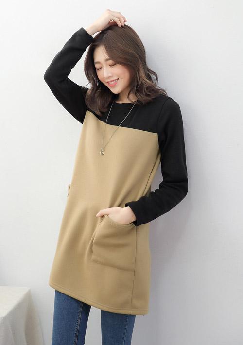暖意配色厚棉刷毛洋裝