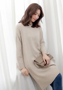 韓版側開衩針織長版毛衣