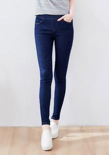 鬆緊腰窄管牛仔褲-深藍
