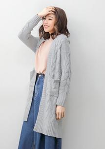 麻花織紋針織長版外套