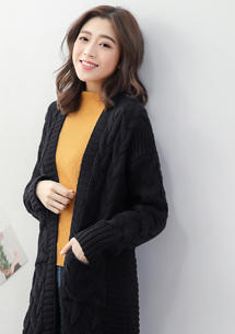 麻花針織長版外套