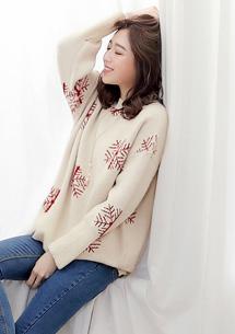 雪花季節厚實粗針織毛衣