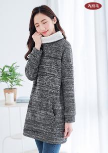 靜謐暖冬針織刷毛高領上衣