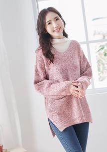 慵懶氛圍混色針織V領毛衣