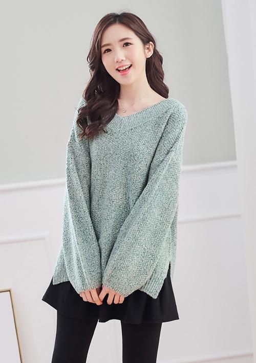 混色針織V領毛衣
