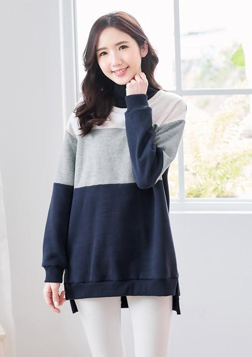 暖氛配色立領厚棉刷毛上衣