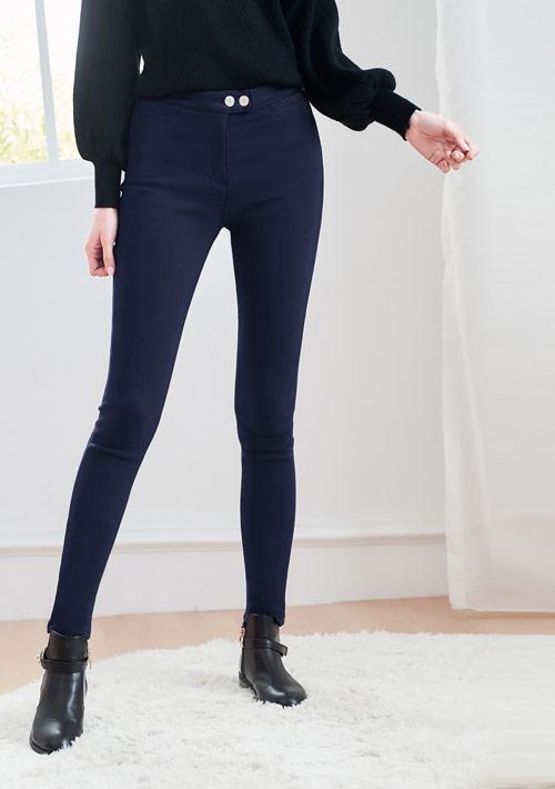 高彈加厚搖粒絨窄管褲