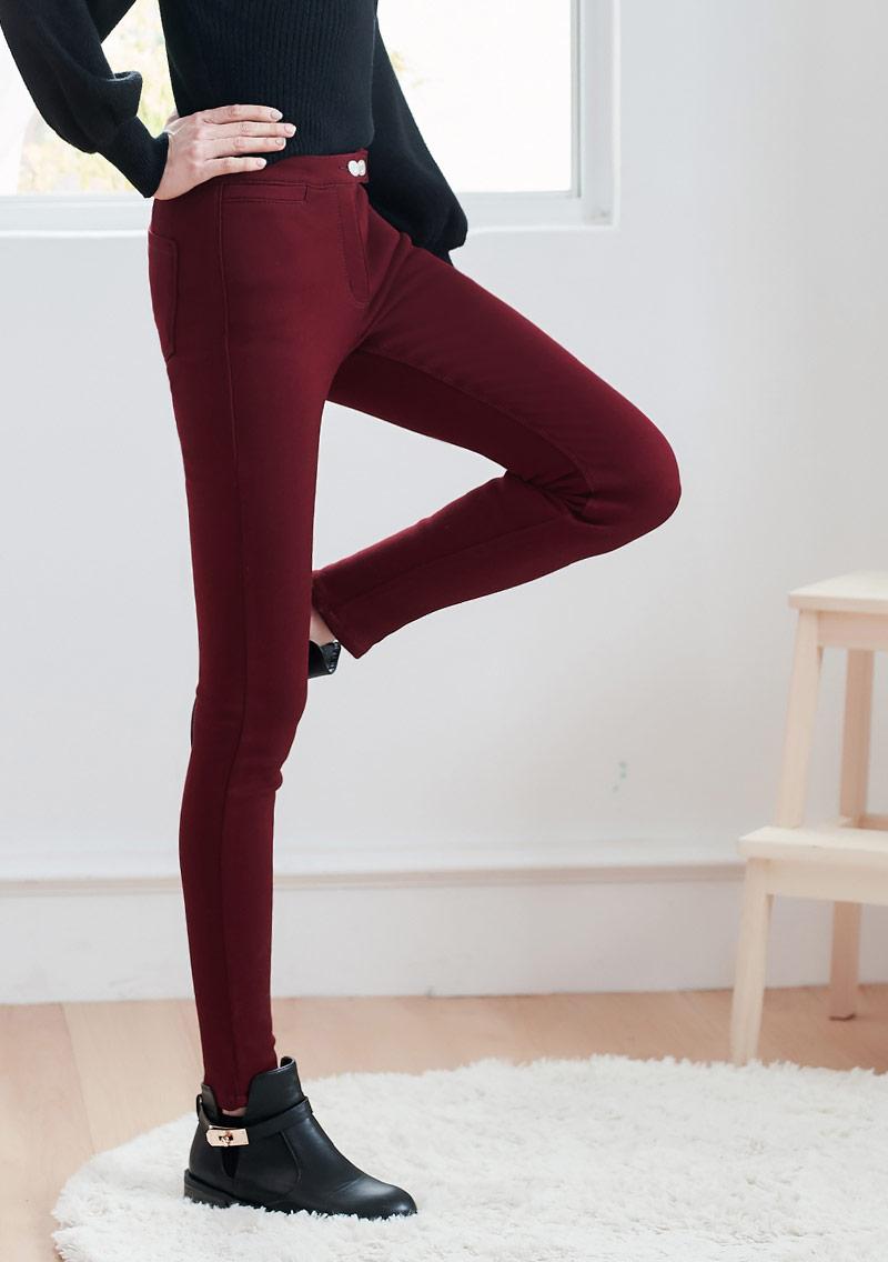 高彈搖粒絨窄管褲