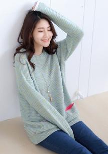 恬柔彩點雙口袋針織毛衣