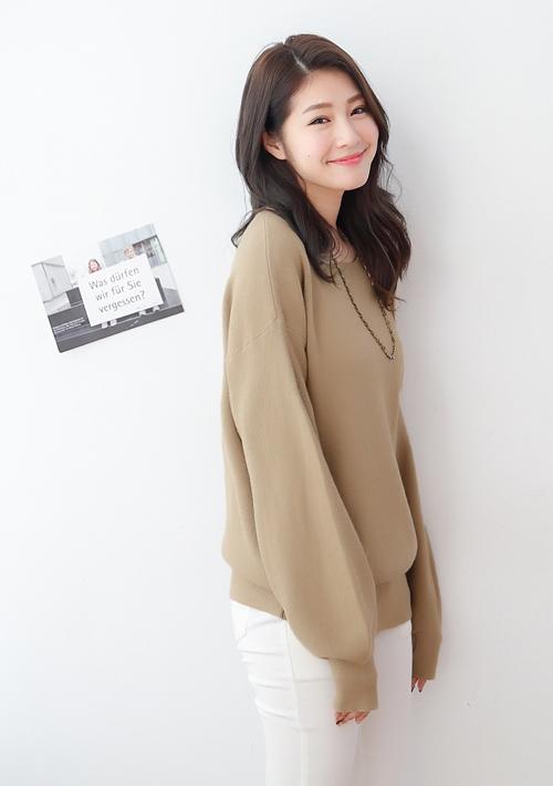 極簡雅緻包芯紗寬版針織衫