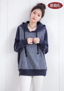 韓版混色厚棉刷毛連帽上衣