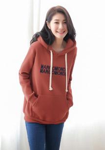 韓版字母厚磅刷毛連帽上衣