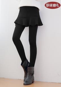 假兩件魚尾裙擺厚磅磨毛褲